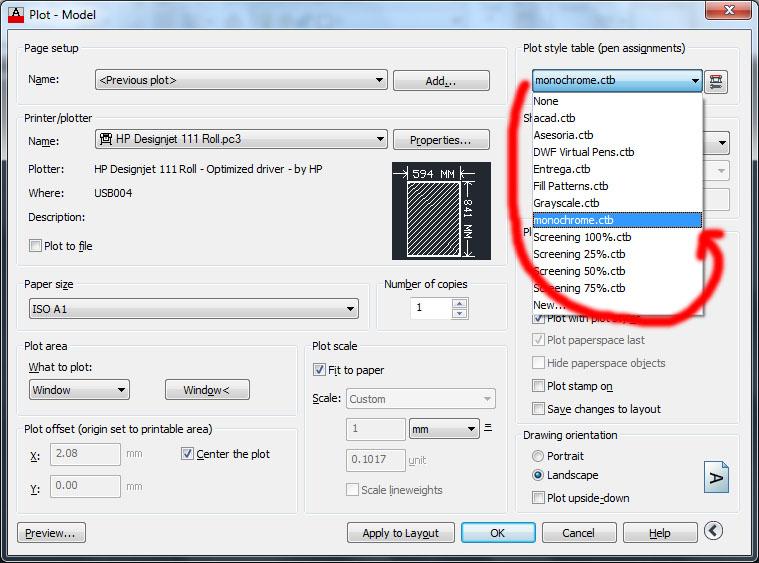 Selección de una configuración de plumillas o styles en AutoCAD 2013