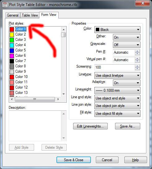 Ventana: Editor de estilos en AutoCAD