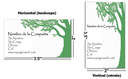 medidas de una tarjeta de presentación